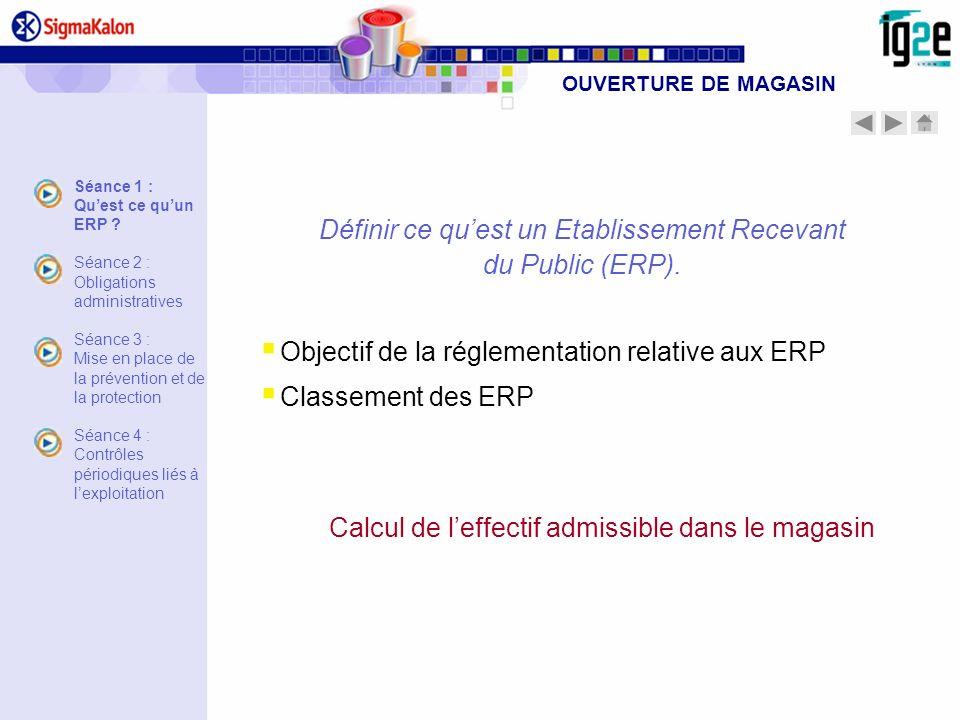 Définir ce quest un Etablissement Recevant du Public (ERP). Objectif de la réglementation relative aux ERP Classement des ERP Calcul de leffectif admi