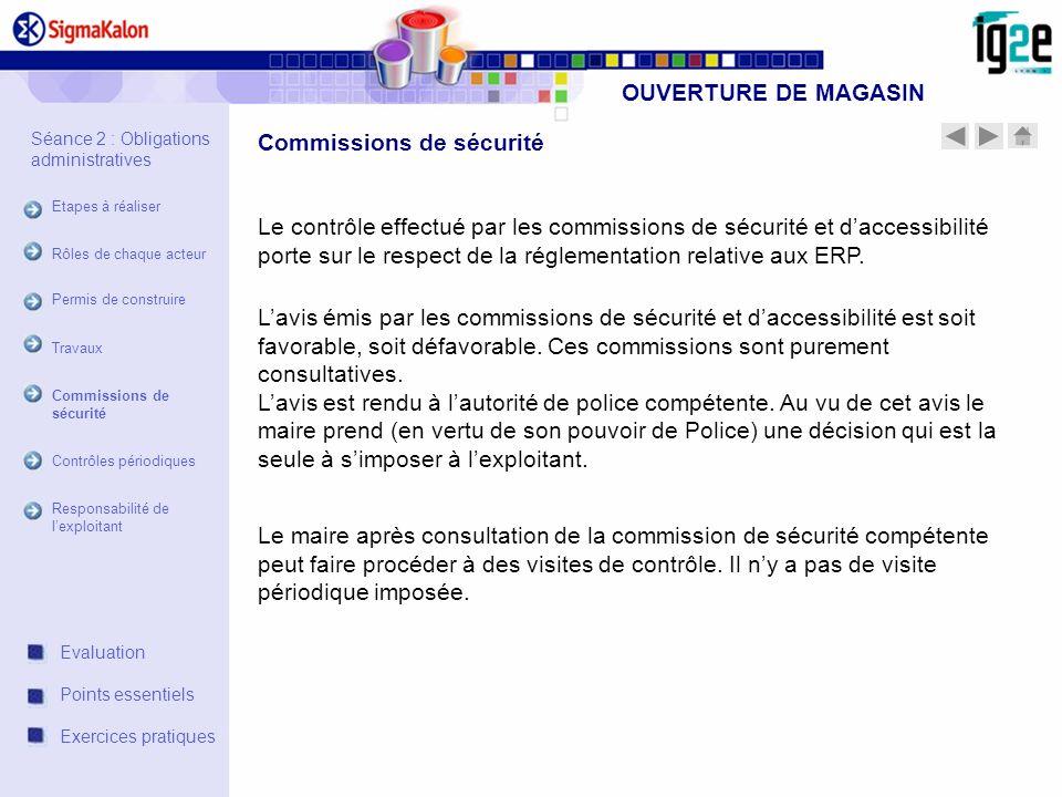 OUVERTURE DE MAGASIN Le contrôle effectué par les commissions de sécurité et daccessibilité porte sur le respect de la réglementation relative aux ERP