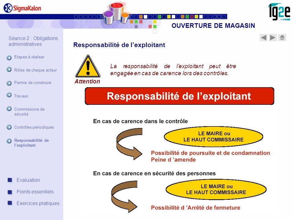OUVERTURE DE MAGASIN La responsabilité de lexploitant peut être engagée en cas de carence lors des contrôles. Attention Responsabilité de lexploitant