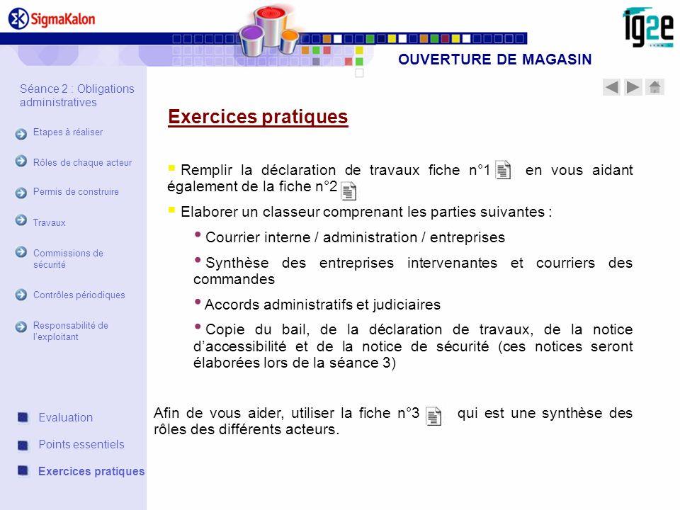 OUVERTURE DE MAGASIN Remplir la déclaration de travaux fiche n°1 en vous aidant également de la fiche n°2 Elaborer un classeur comprenant les parties