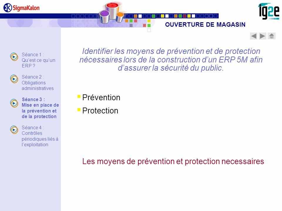 Identifier les moyens de prévention et de protection nécessaires lors de la construction dun ERP 5M afin dassurer la sécurité du public. Prévention Pr