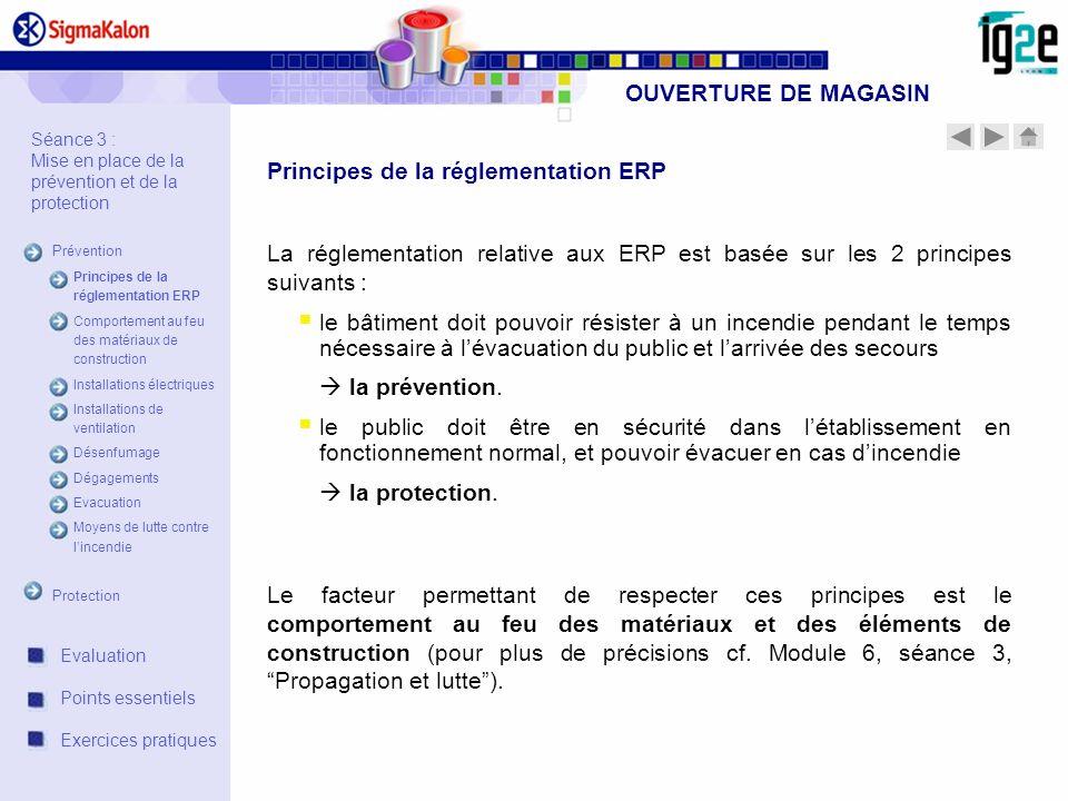 OUVERTURE DE MAGASIN Séance 3 : Mise en place de la prévention et de la protection Prévention Principes de la réglementation ERP Comportement au feu d
