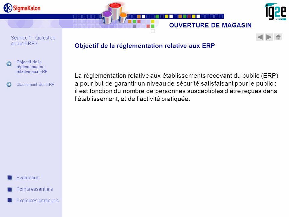 La réglementation relative aux établissements recevant du public (ERP) a pour but de garantir un niveau de sécurité satisfaisant pour le public : il e