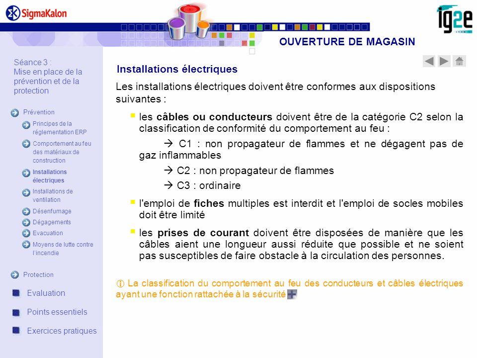 OUVERTURE DE MAGASIN Les installations électriques doivent être conformes aux dispositions suivantes : les câbles ou conducteurs doivent être de la ca