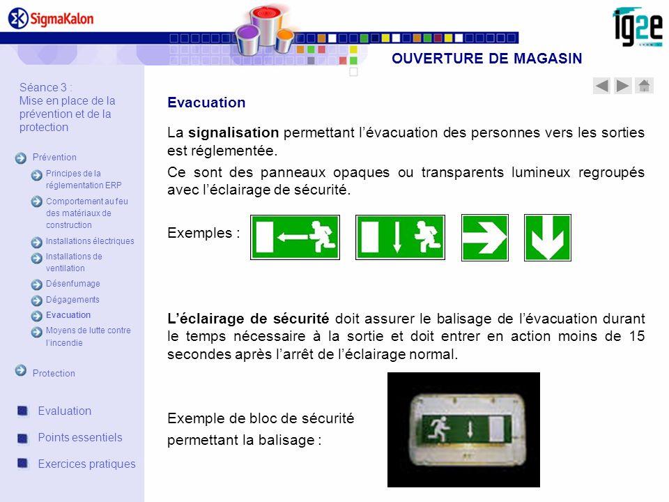 OUVERTURE DE MAGASIN La signalisation permettant lévacuation des personnes vers les sorties est réglementée. Ce sont des panneaux opaques ou transpare