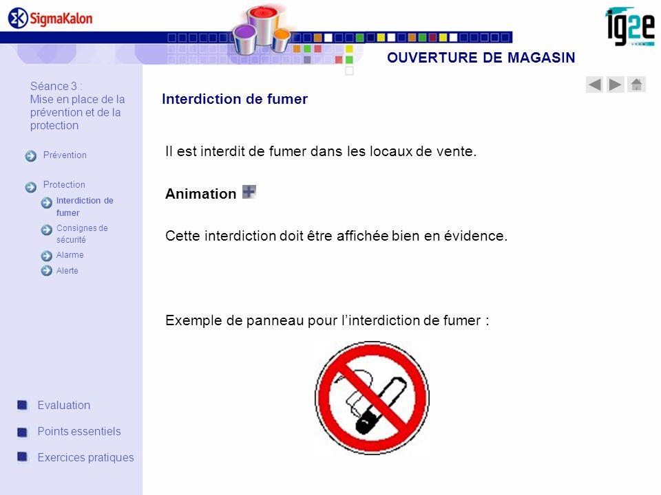 OUVERTURE DE MAGASIN Séance 3 : Mise en place de la prévention et de la protection Prévention Protection Interdiction de fumer Consignes de sécurité A