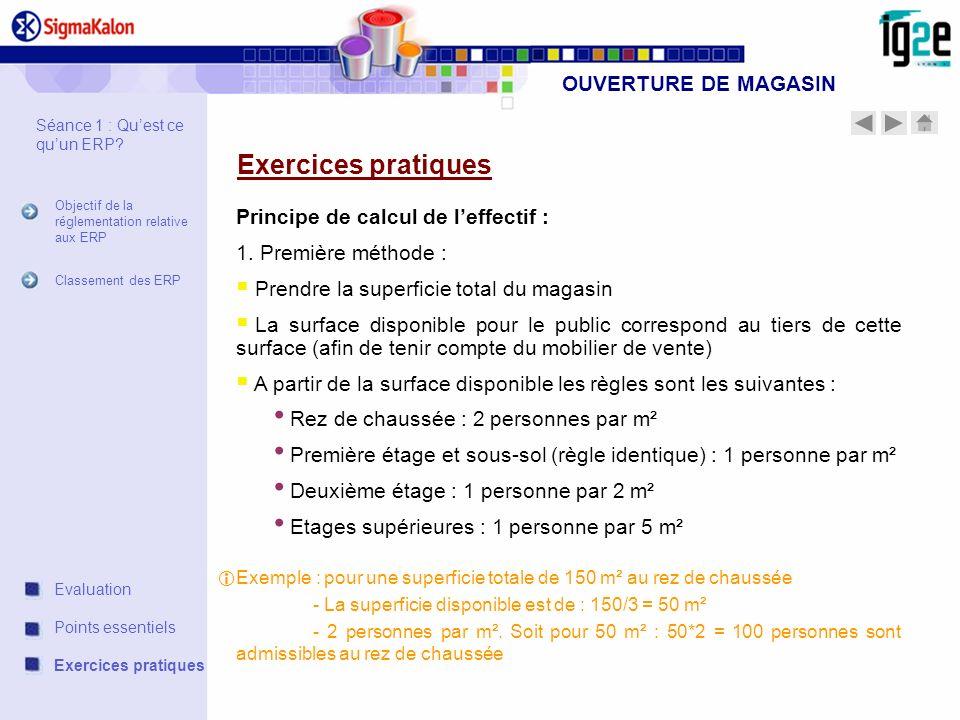 OUVERTURE DE MAGASIN Exercices pratiques Principe de calcul de leffectif : 1. Première méthode : Prendre la superficie total du magasin La surface dis