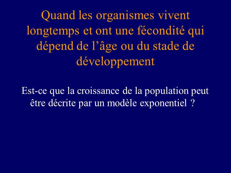 Quand les organismes vivent longtemps et ont une fécondité qui dépend de lâge ou du stade de développement Est-ce que la croissance de la population p