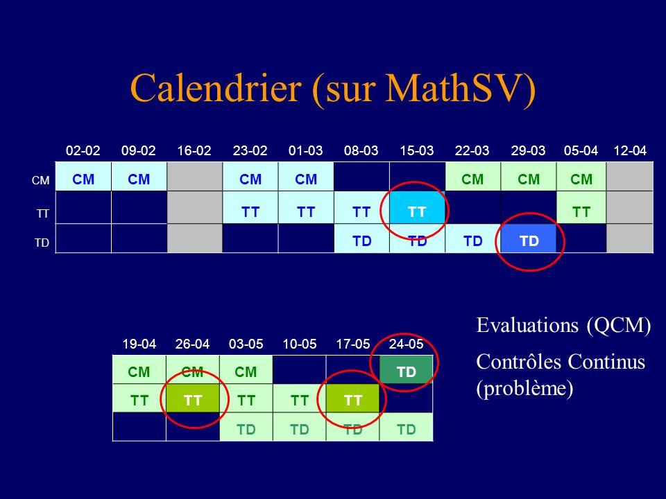 Calendrier (sur MathSV) 02-0209-0216-0223-0201-0308-0315-0322-0329-0305-04 12-04 CM TT TD 19-0426-0403-0510-0517-0524-05 CM TD TT TD Evaluations (QCM)