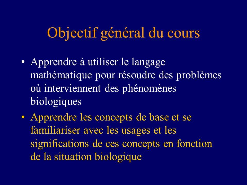 Objectif général du cours Apprendre à utiliser le langage mathématique pour résoudre des problèmes où interviennent des phénomènes biologiques Apprend