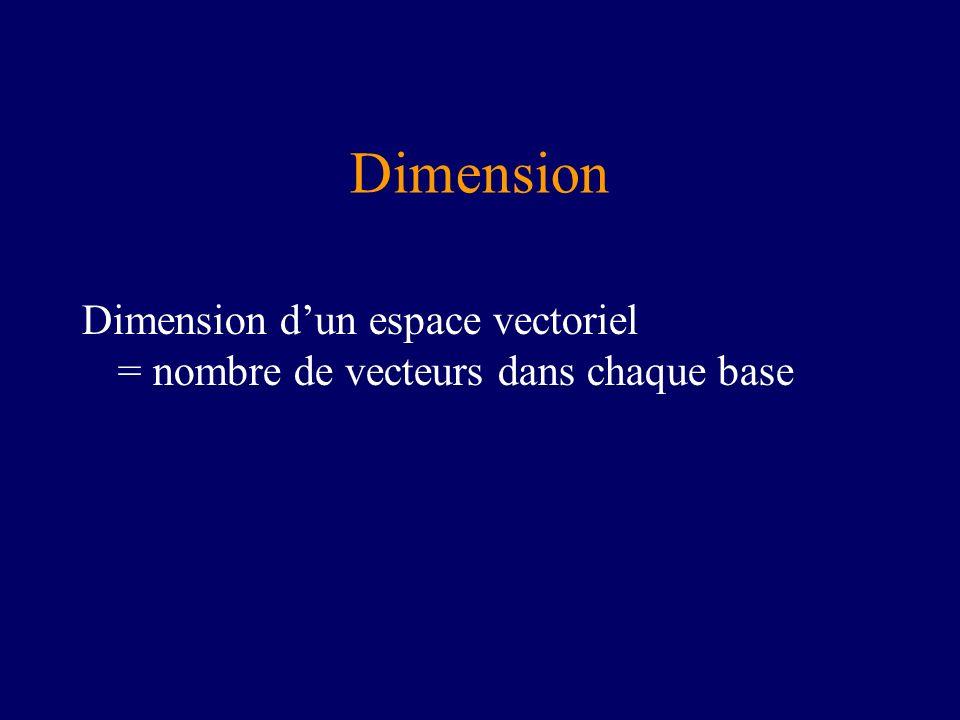 Dimension Dimension dun espace vectoriel = nombre de vecteurs dans chaque base