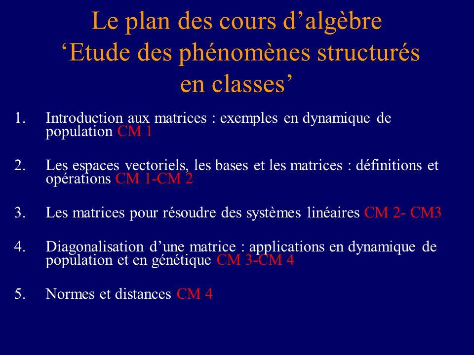 Le plan des cours dalgèbre Etude des phénomènes structurés en classes 1.Introduction aux matrices : exemples en dynamique de population CM 1 2.Les esp