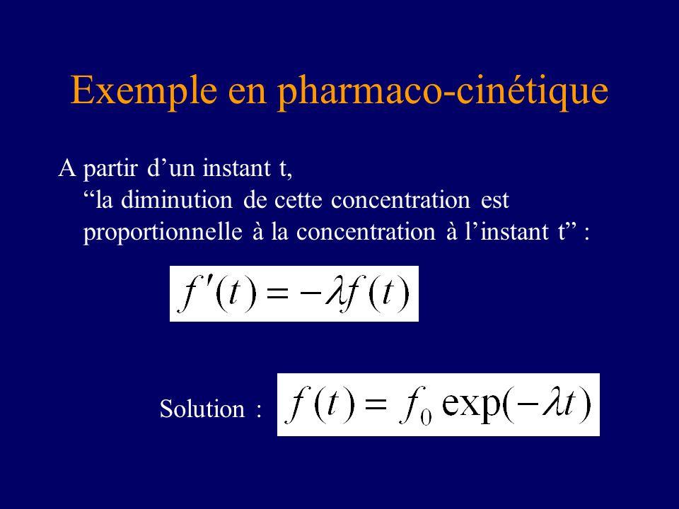 Exemple en pharmaco-cinétique A partir dun instant t, la diminution de cette concentration est proportionnelle à la concentration à linstant t : Solut