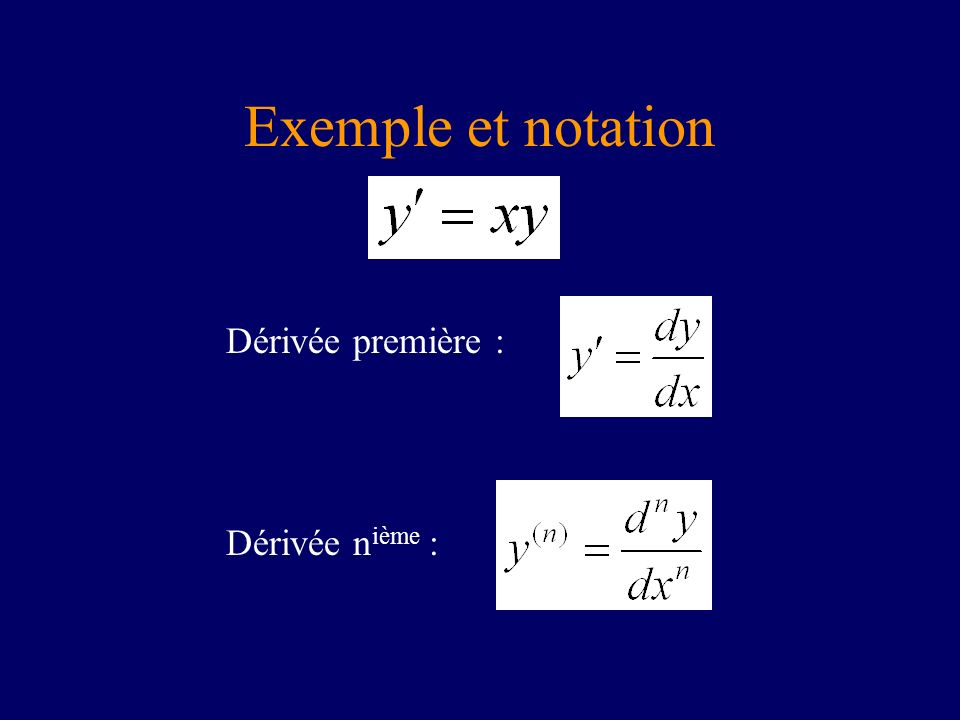 Exemple et notation Dérivée première : Dérivée n ième :