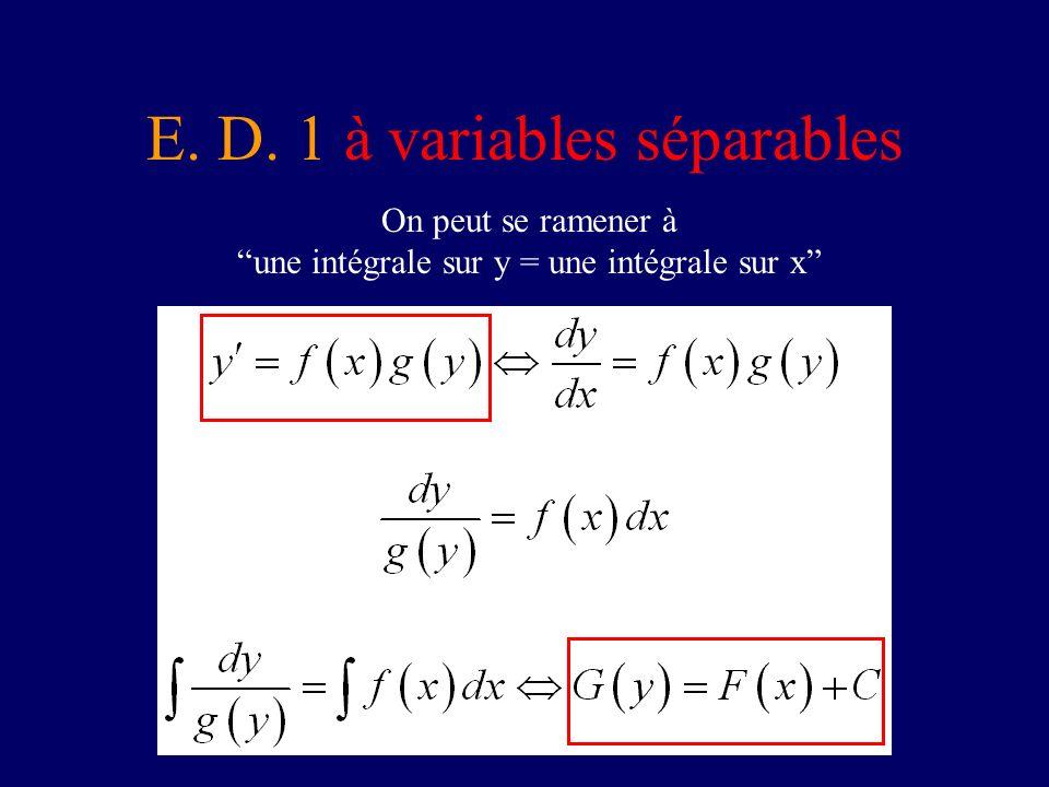 E. D. 1 à variables séparables On peut se ramener à une intégrale sur y = une intégrale sur x