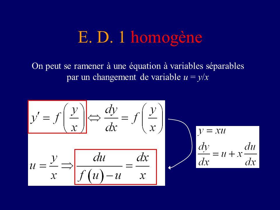 E. D. 1 homogène On peut se ramener à une équation à variables séparables par un changement de variable u = y/x