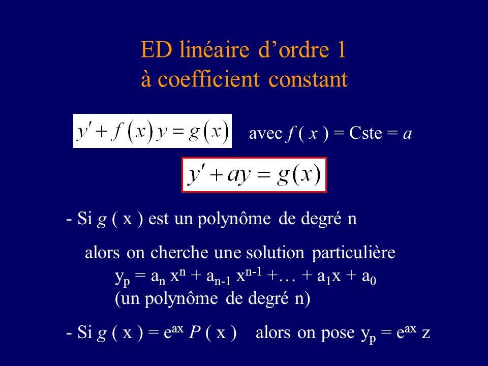 ED linéaire dordre 1 à coefficient constant avec f ( x ) = Cste = a - Si g ( x ) est un polynôme de degré n alors on cherche une solution particulière