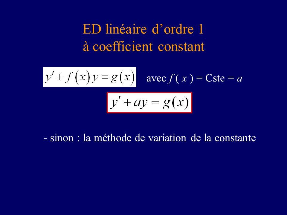 ED linéaire dordre 1 à coefficient constant avec f ( x ) = Cste = a - sinon : la méthode de variation de la constante