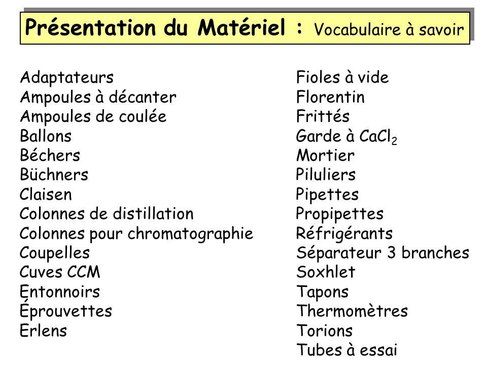 Présentation du Matériel : Vocabulaire à savoir Adaptateurs Ampoules à décanter Ampoules de coulée Ballons Béchers Büchners Claisen Colonnes de distil