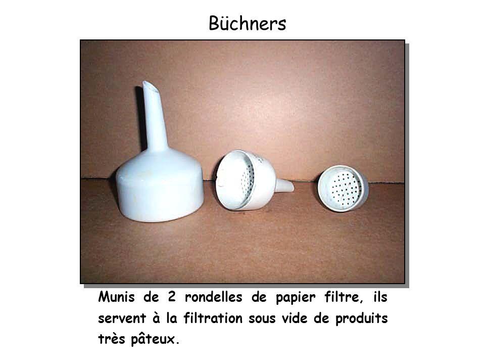 Munis de 2 rondelles de papier filtre, ils servent à la filtration sous vide de produits très pâteux. Büchners
