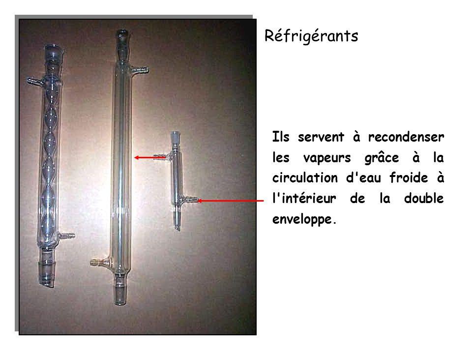 Réfrigérants Ils servent à recondenser les vapeurs grâce à la circulation d'eau froide à l'intérieur de la double enveloppe.