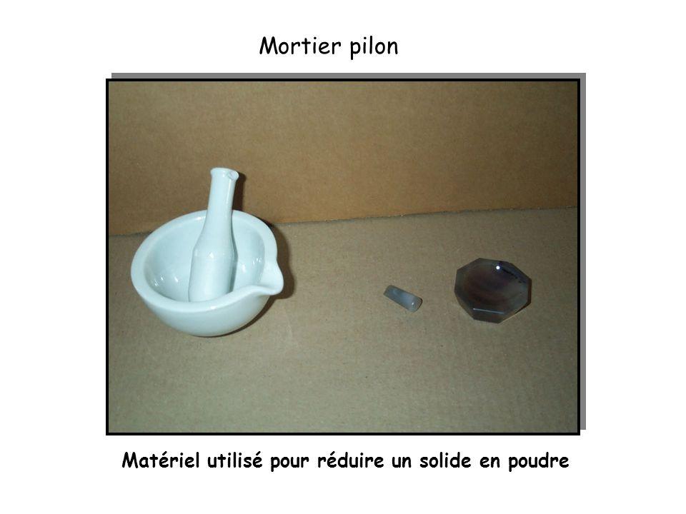 Mortier pilon Matériel utilisé pour réduire un solide en poudre