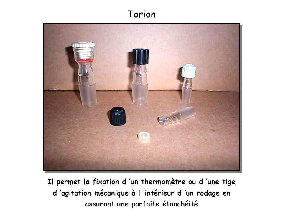 Torion Il permet la fixation d un thermomètre ou d une tige d agitation mécanique à l intérieur d un rodage en assurant une parfaite étanchéité