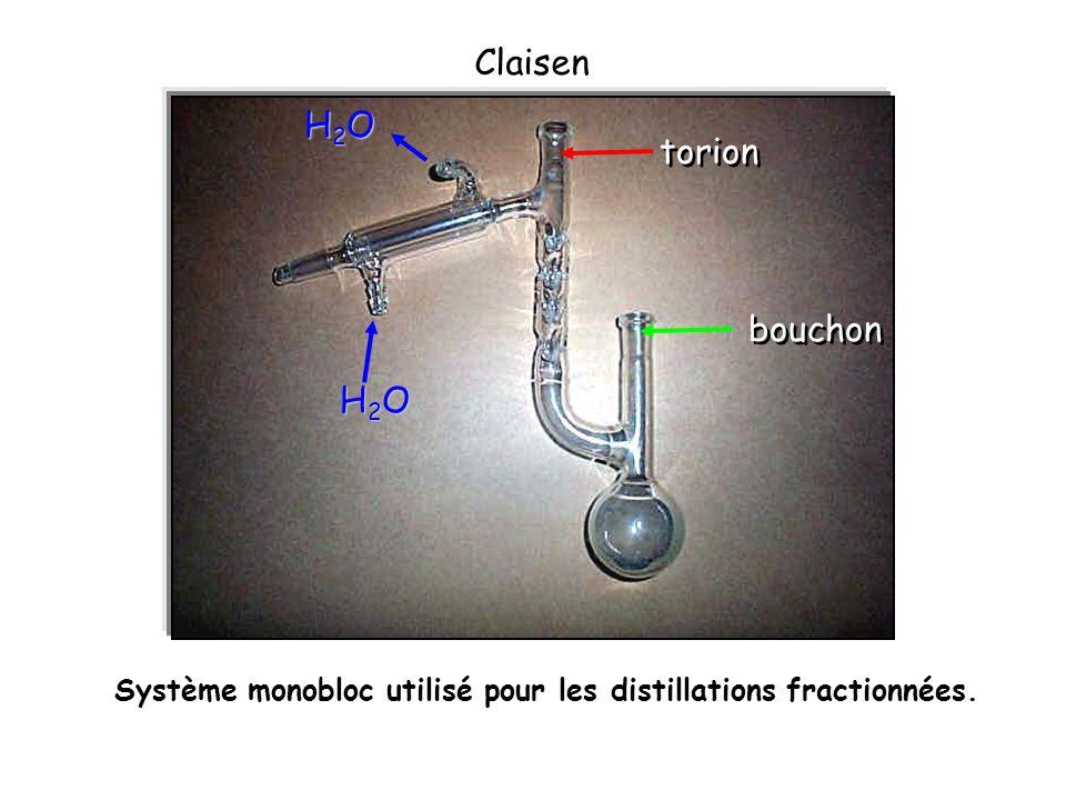 Système monobloc utilisé pour les distillations fractionnées. Claisen torion H2OH2OH2OH2O H2OH2OH2OH2O bouchon