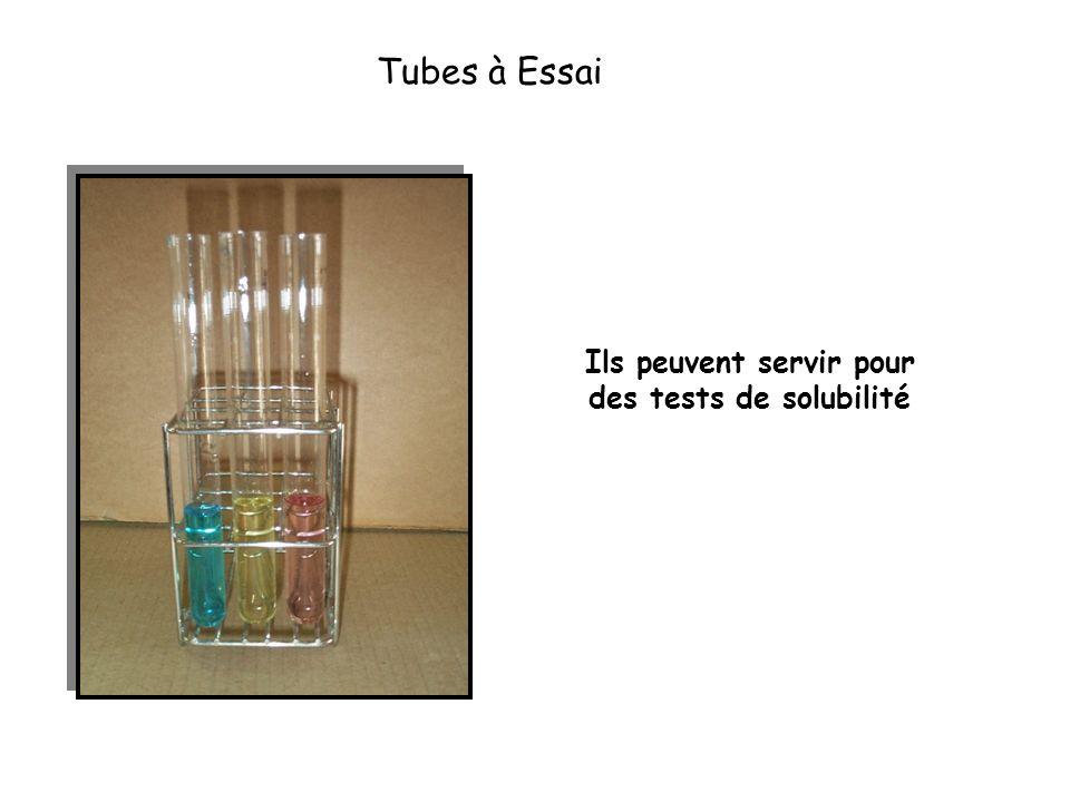 Tubes à Essai Ils peuvent servir pour des tests de solubilité