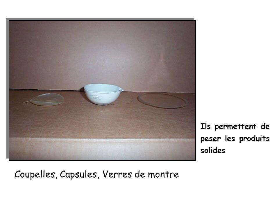 Coupelles, Capsules, Verres de montre Ils permettent de peser les produits solides