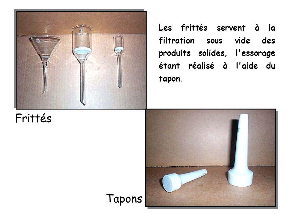 Les frittés servent à la filtration sous vide des produits solides, l'essorage étant réalisé à l'aide du tapon. Frittés Tapons
