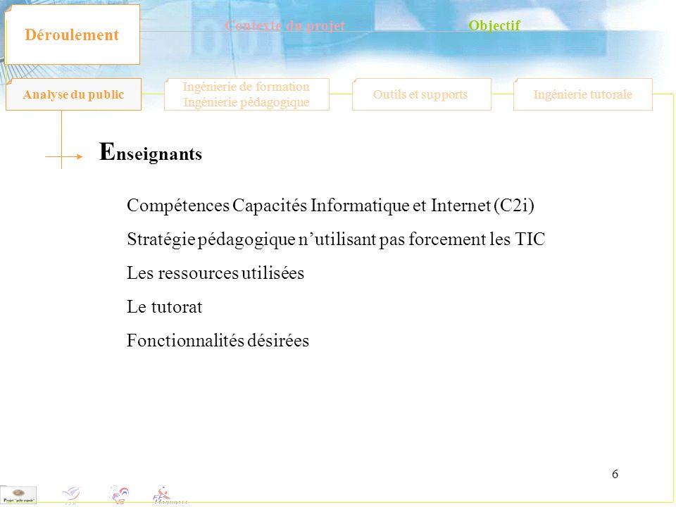 6 Contexte du projetObjectif Déroulement E nseignants Compétences Capacités Informatique et Internet (C2i) Stratégie pédagogique nutilisant pas forcem