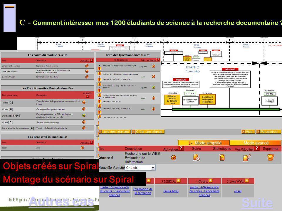 C- Comment intéresser mes 1200 étudiants de science à la recherche documentaire ? Scénario en Présentiel enrichi participatif/collaboratif Enchaînemen