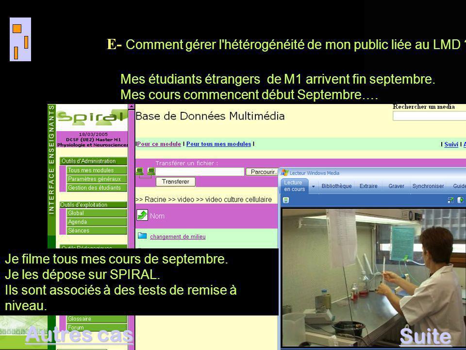 E- Comment gérer l'hétérogénéité de mon public liée au LMD ? Visio conférence Mars 2005 E- Comment gérer l'hétérogénéité de mon public liée au LMD ? M