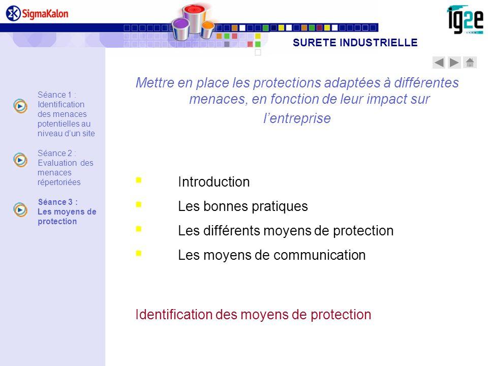Mettre en place les protections adaptées à différentes menaces, en fonction de leur impact sur lentreprise Introduction Les bonnes pratiques Les diffé