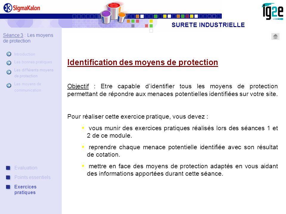 Séance 3 : Les moyens de protection Introduction Les bonnes pratiques Les différents moyens de protection Les moyens de communication SURETE INDUSTRIE