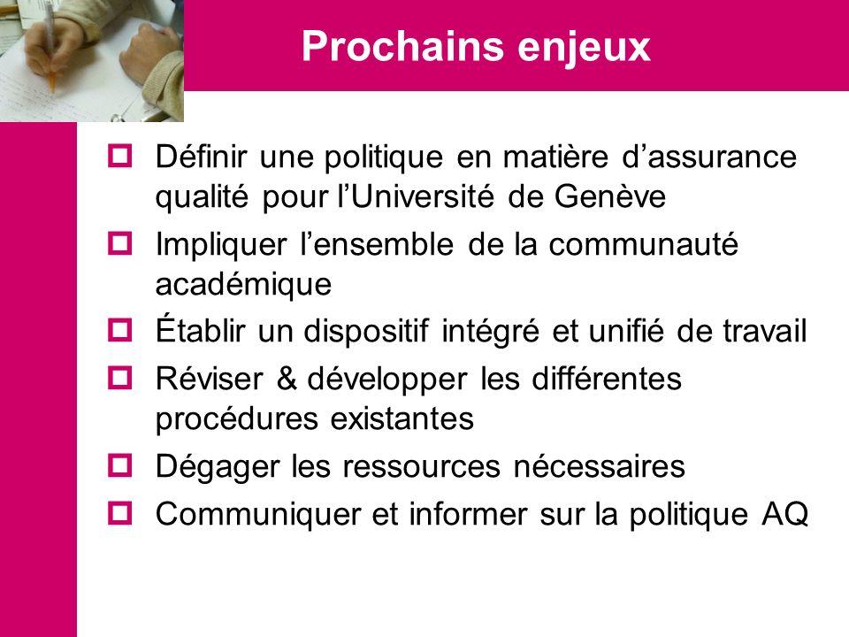 Prochains enjeux Définir une politique en matière dassurance qualité pour lUniversité de Genève Impliquer lensemble de la communauté académique Établi