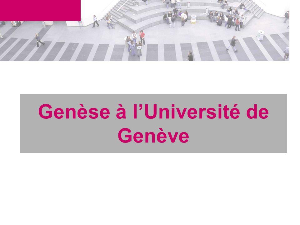 Genèse à lUniversité de Genève