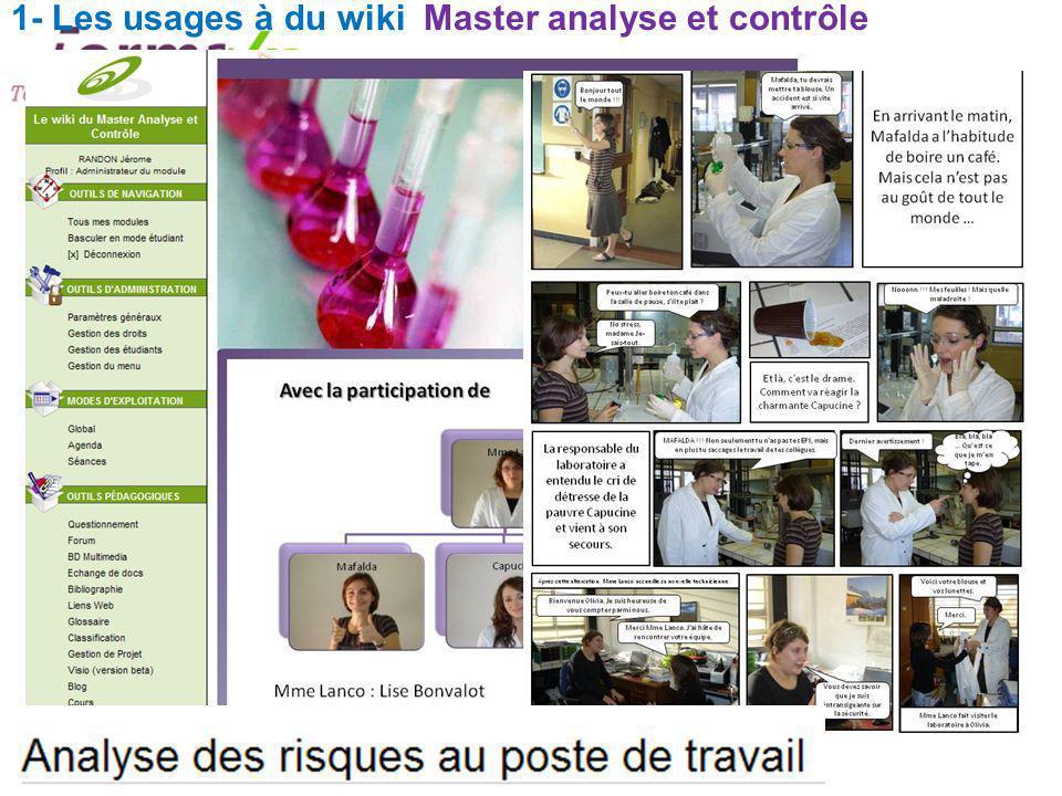 1- Les usages à du wiki Master analyse et contrôle