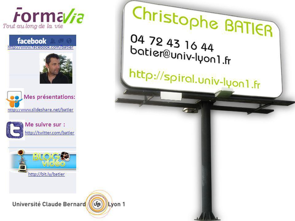 http://twitter.com/batier Me suivre sur : http://bit.ly/batier http://www.facebook.com/batier http://www.slideshare.net/batier Mes présentations: