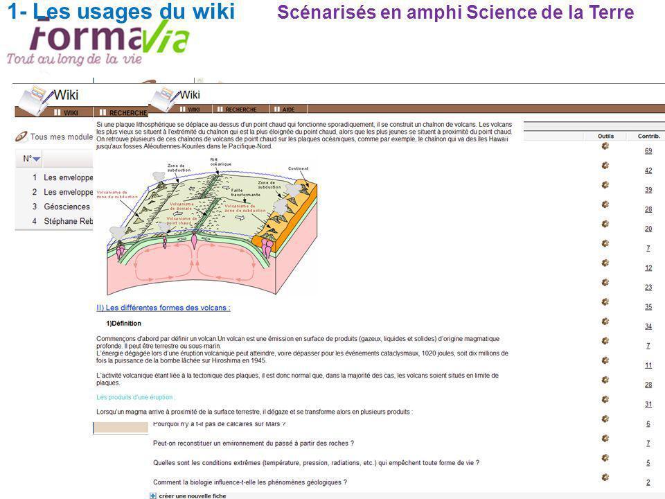 1- Les usages du wiki Scénarisés en amphi Science de la Terre