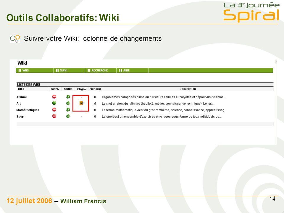 14 12 juillet 2006 – William Francis Outils Collaboratifs: Wiki Suivre votre Wiki: colonne de changements