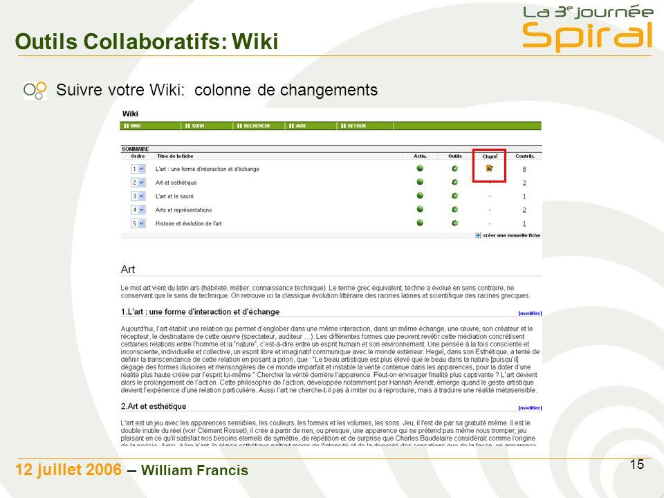 15 12 juillet 2006 – William Francis Outils Collaboratifs: Wiki Suivre votre Wiki: colonne de changements