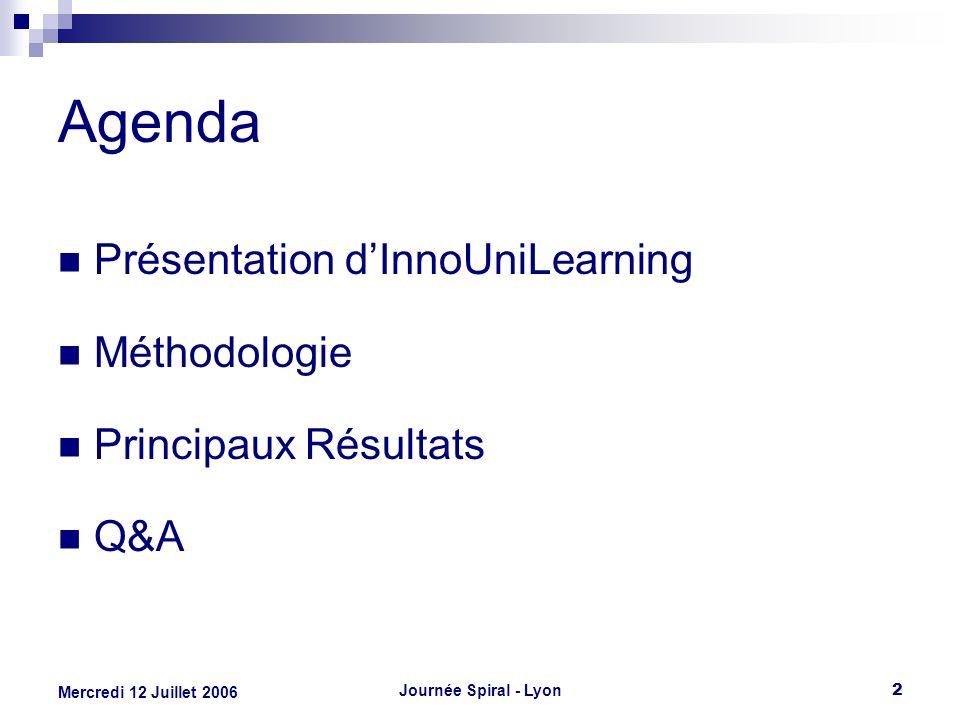 Journée Spiral - Lyon2 Mercredi 12 Juillet 2006 Agenda Présentation dInnoUniLearning Méthodologie Principaux Résultats Q&A