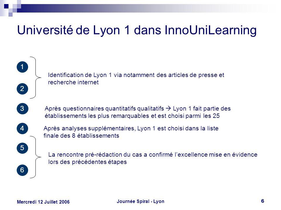 Journée Spiral - Lyon6 Mercredi 12 Juillet 2006 Université de Lyon 1 dans InnoUniLearning 3 Après questionnaires quantitatifs qualitatifs Lyon 1 fait