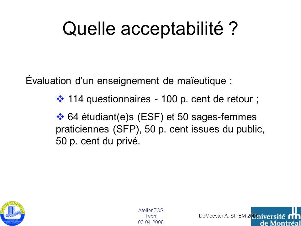 Atelier TCS Lyon 03-04-2008 Quelle acceptabilité ? Évaluation dun enseignement de maïeutique : 114 questionnaires - 100 p. cent de retour ; 64 étudian