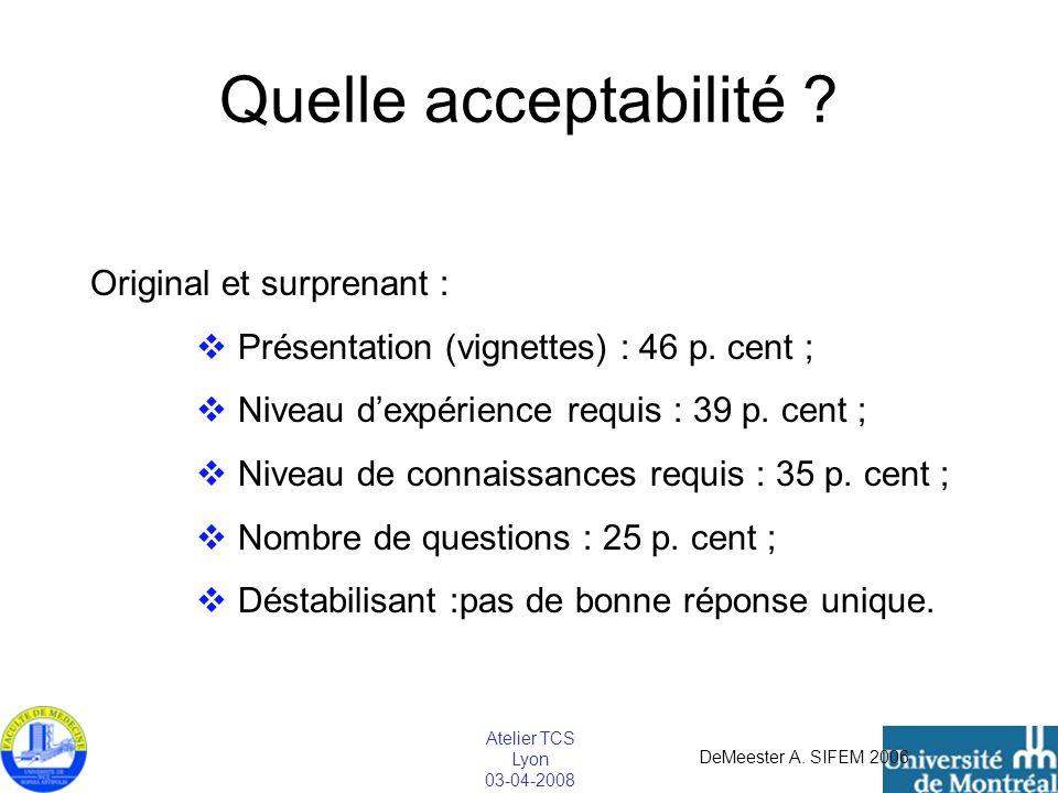 Atelier TCS Lyon 03-04-2008 Quelle acceptabilité ? Original et surprenant : Présentation (vignettes) : 46 p. cent ; Niveau dexpérience requis : 39 p.