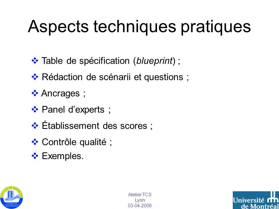 Atelier TCS Lyon 03-04-2008 Aspects techniques pratiques Table de spécification (blueprint) ; Rédaction de scénarii et questions ; Ancrages ; Panel de