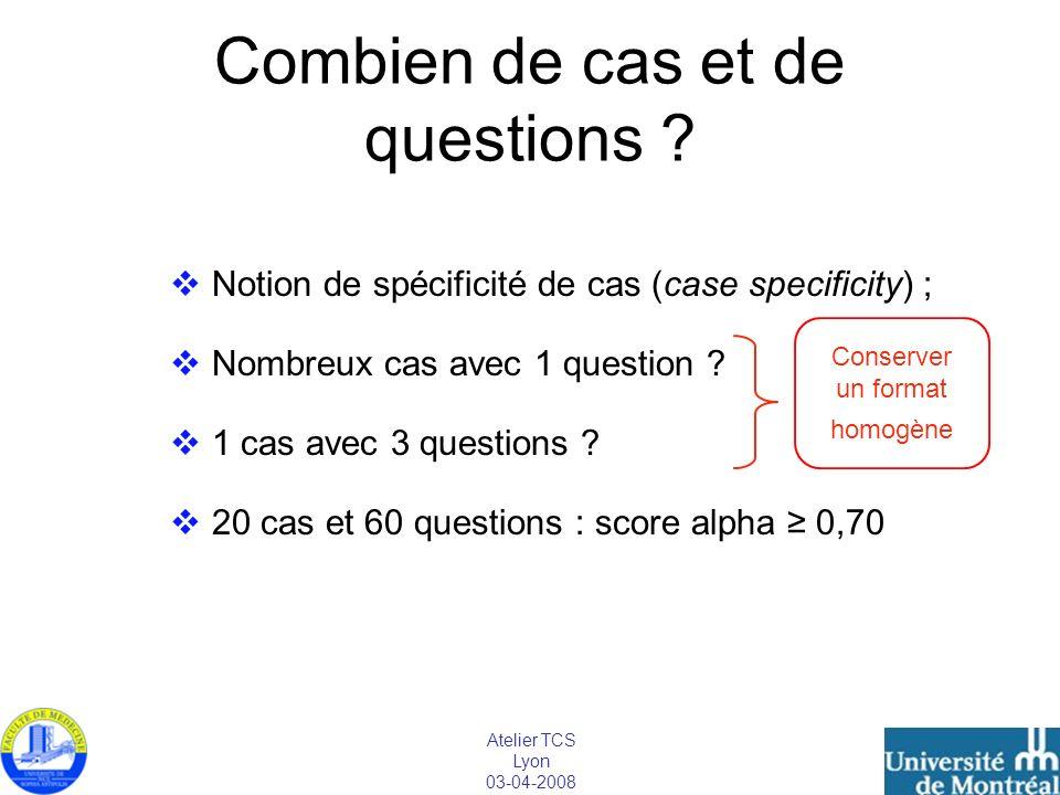 Atelier TCS Lyon 03-04-2008 Combien de cas et de questions ? Notion de spécificité de cas (case specificity) ; Nombreux cas avec 1 question ? 1 cas av
