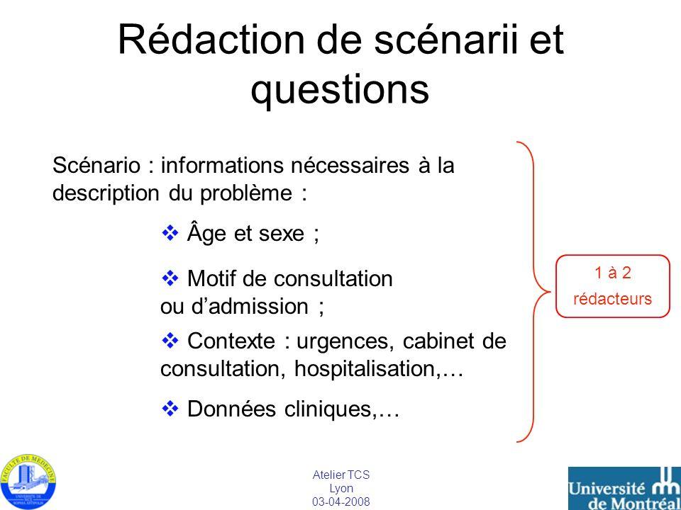 Atelier TCS Lyon 03-04-2008 Rédaction de scénarii et questions Scénario : informations nécessaires à la description du problème : Âge et sexe ; Motif